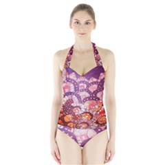Colorful Art Traditional Batik Pattern Halter Swimsuit