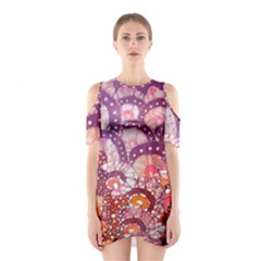 Colorful Art Traditional Batik Pattern Shoulder Cutout One Piece