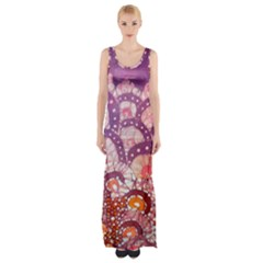 Colorful Art Traditional Batik Pattern Maxi Thigh Split Dress