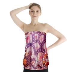 Colorful Art Traditional Batik Pattern Strapless Top