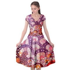 Colorful Art Traditional Batik Pattern Cap Sleeve Wrap Front Dress
