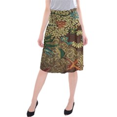 Colorful The Beautiful Of Art Indonesian Batik Pattern Midi Beach Skirt