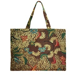 Colorful The Beautiful Of Art Indonesian Batik Pattern Zipper Large Tote Bag by BangZart