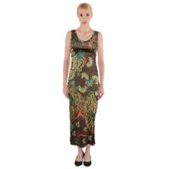 Colorful The Beautiful Of Art Indonesian Batik Pattern Fitted Maxi Dress