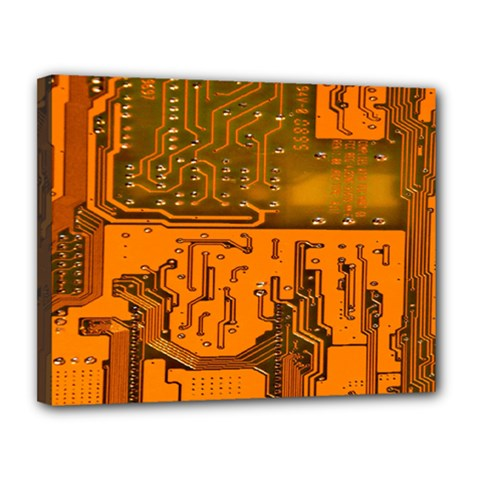 Circuit Board Pattern Canvas 14  X 11  by BangZart