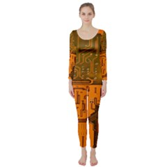 Circuit Board Pattern Long Sleeve Catsuit by BangZart