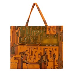 Circuit Board Pattern Zipper Large Tote Bag by BangZart