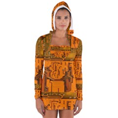 Circuit Board Pattern Long Sleeve Hooded T Shirt