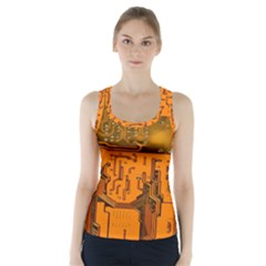 Circuit Board Pattern Racer Back Sports Top by BangZart