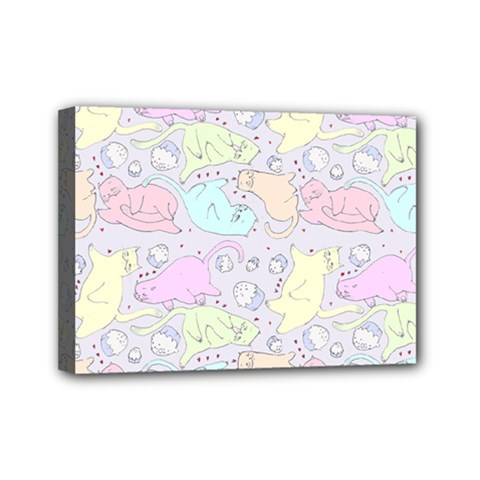 Cat Animal Pet Pattern Mini Canvas 7  X 5  by BangZart