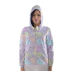 Cat Animal Pet Pattern Hooded Wind Breaker (women)