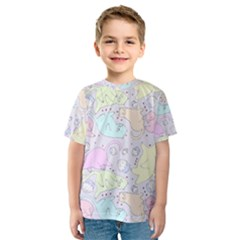 Cat Animal Pet Pattern Kids  Sport Mesh Tee