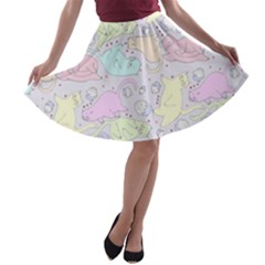 Cat Animal Pet Pattern A Line Skater Skirt