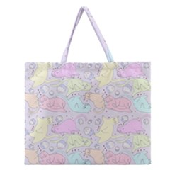 Cat Animal Pet Pattern Zipper Large Tote Bag