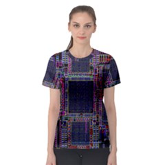 Cad Technology Circuit Board Layout Pattern Women s Sport Mesh Tee