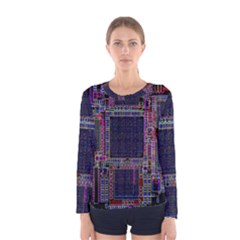 Cad Technology Circuit Board Layout Pattern Women s Long Sleeve Tee
