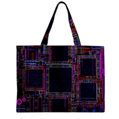Cad Technology Circuit Board Layout Pattern Zipper Mini Tote Bag