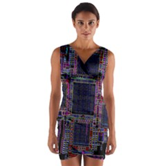 Cad Technology Circuit Board Layout Pattern Wrap Front Bodycon Dress