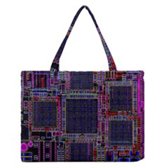 Cad Technology Circuit Board Layout Pattern Medium Zipper Tote Bag