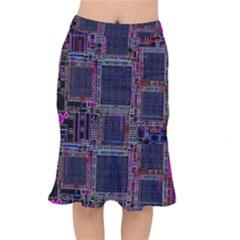 Cad Technology Circuit Board Layout Pattern Mermaid Skirt by BangZart