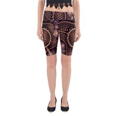Brown Fractal Balls And Circles Yoga Cropped Leggings by BangZart