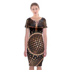 Brown Fractal Balls And Circles Classic Short Sleeve Midi Dress