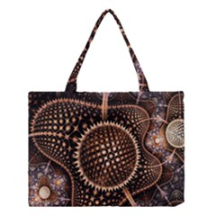 Brown Fractal Balls And Circles Medium Tote Bag by BangZart