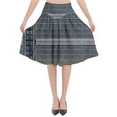Building Pattern Flared Midi Skirt