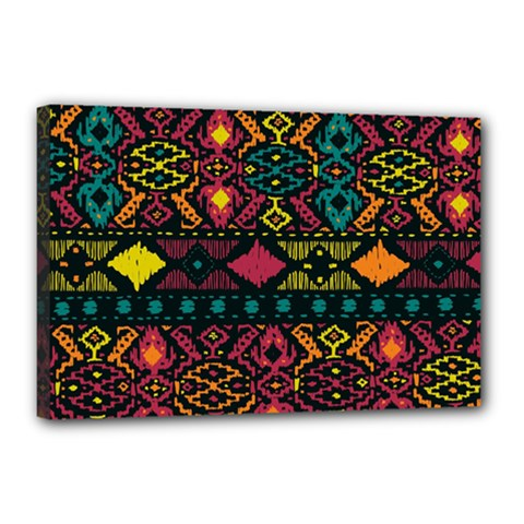 Bohemian Patterns Tribal Canvas 18  X 12