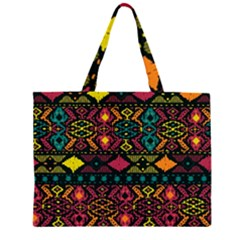 Bohemian Patterns Tribal Zipper Large Tote Bag