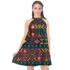 Bohemian Patterns Tribal Halter Neckline Chiffon Dress