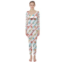 Simple Saturated Pattern Long Sleeve Catsuit