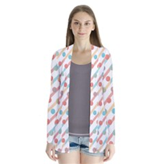 Simple Saturated Pattern Drape Collar Cardigan by linceazul