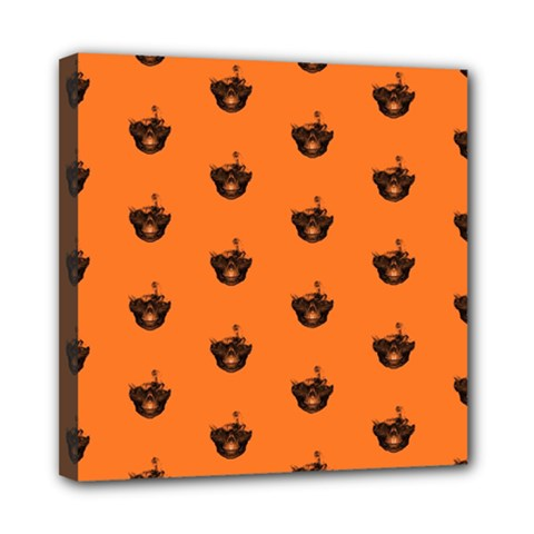 Funny Halloween   Burned Skull Pattern Mini Canvas 8  X 8  by MoreColorsinLife