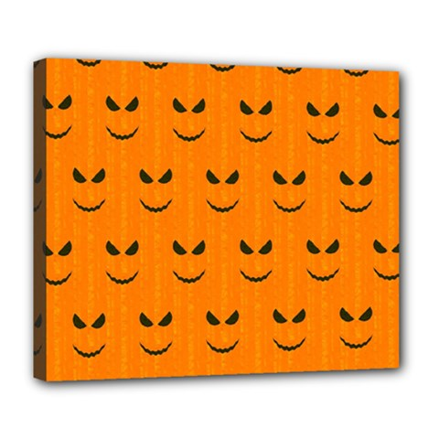 Funny Halloween   Face Pattern Deluxe Canvas 24  X 20   by MoreColorsinLife