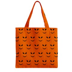 Funny Halloween   Face Pattern Zipper Grocery Tote Bag by MoreColorsinLife
