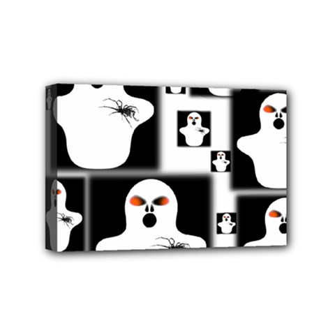Funny Halloween   Ghost Pattern 2 Mini Canvas 6  X 4  by MoreColorsinLife