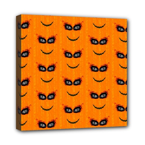 Funny Halloween   Face Pattern 2 Mini Canvas 8  X 8  by MoreColorsinLife