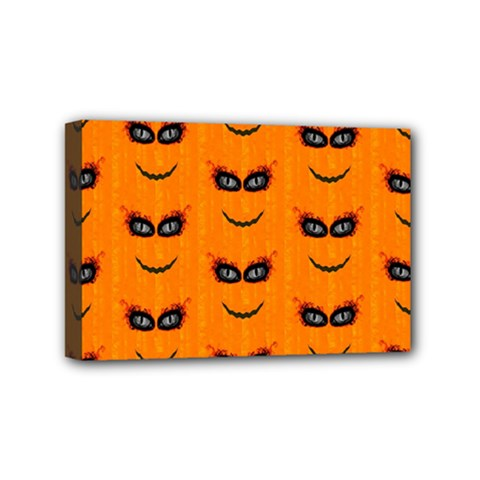 Funny Halloween   Face Pattern 2 Mini Canvas 6  X 4  by MoreColorsinLife