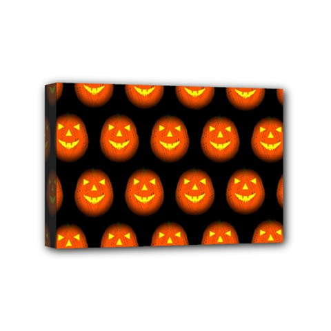 Funny Halloween   Pumpkin Pattern Mini Canvas 6  X 4  by MoreColorsinLife