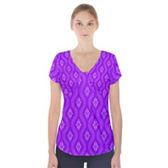 Decorative Seamless Pattern  Short Sleeve Front Detail Top