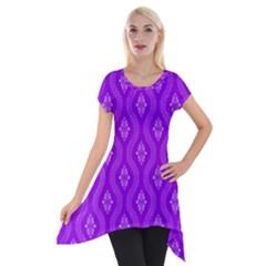 Decorative Seamless Pattern  Short Sleeve Side Drop Tunic