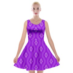 Decorative Seamless Pattern  Velvet Skater Dress