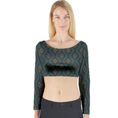 Ornamental Pattern Background Long Sleeve Crop Top