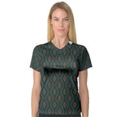 Ornamental Pattern Background V Neck Sport Mesh Tee