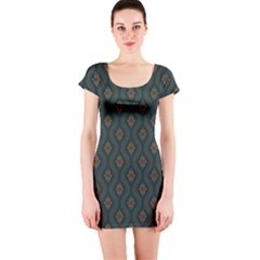 Ornamental Pattern Background Short Sleeve Bodycon Dress