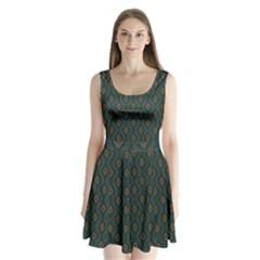 Ornamental Pattern Background Split Back Mini Dress