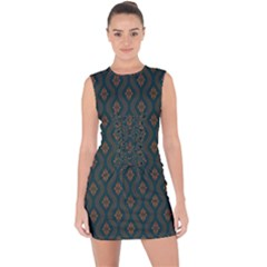 Ornamental Pattern Background Lace Up Front Bodycon Dress