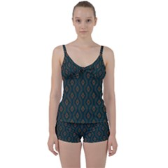 Ornamental Pattern Background Tie Front Two Piece Tankini