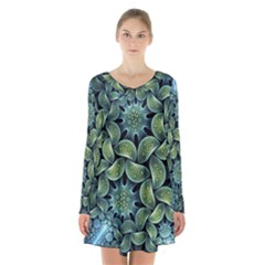 Blue Lotus Long Sleeve Velvet V Neck Dress